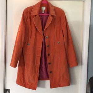 J Jill orange corduroy lined coat large